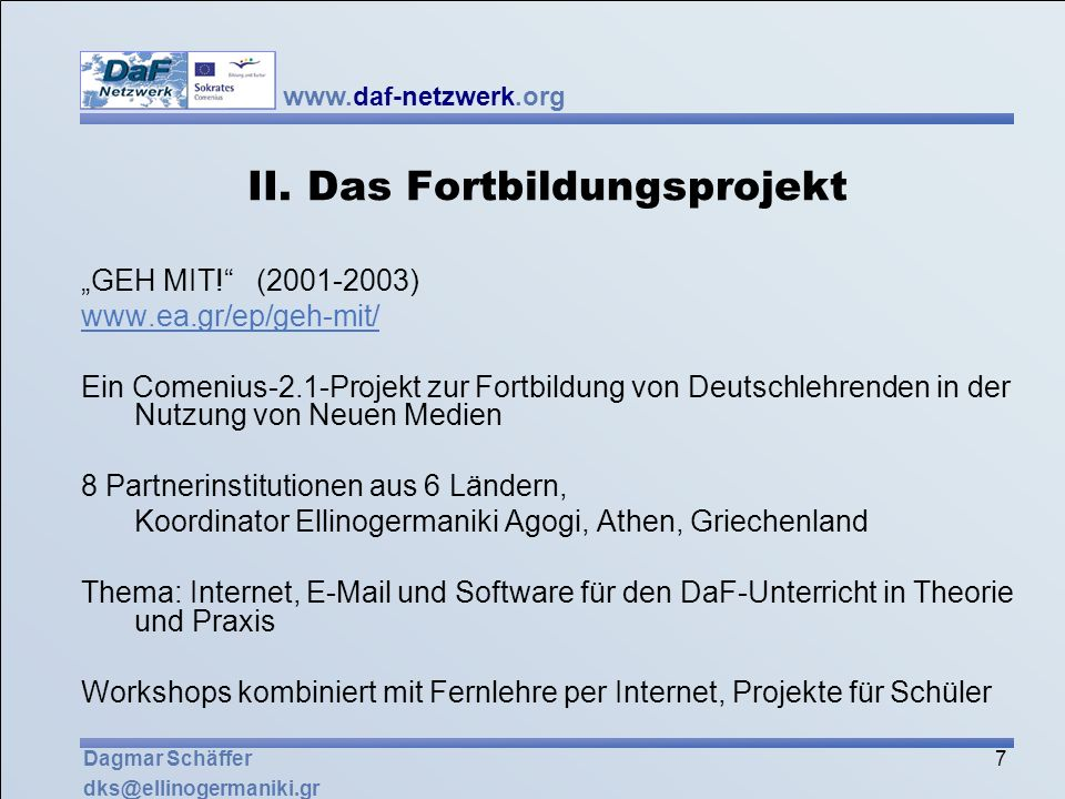 II. Das Fortbildungsprojekt