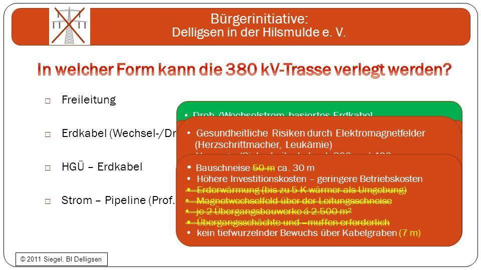 In welcher Form kann die 380 kV-Trasse verlegt werden