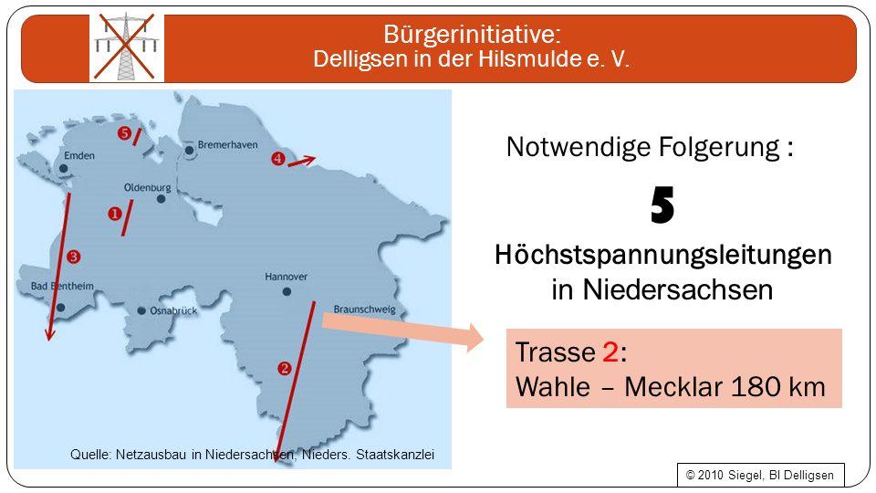 Notwendige Folgerung : 5 Höchstspannungsleitungen in Niedersachsen