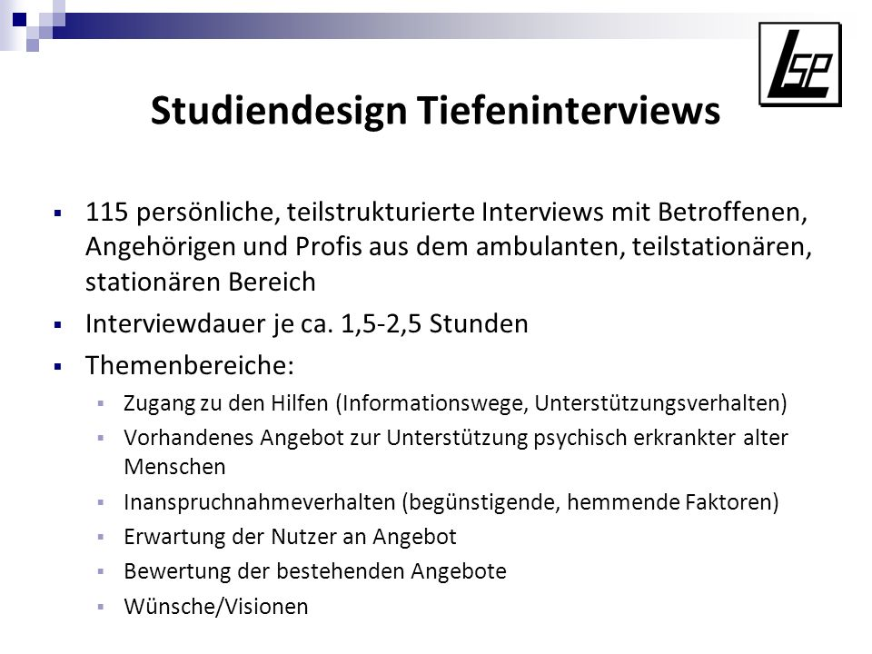 Studiendesign Tiefeninterviews
