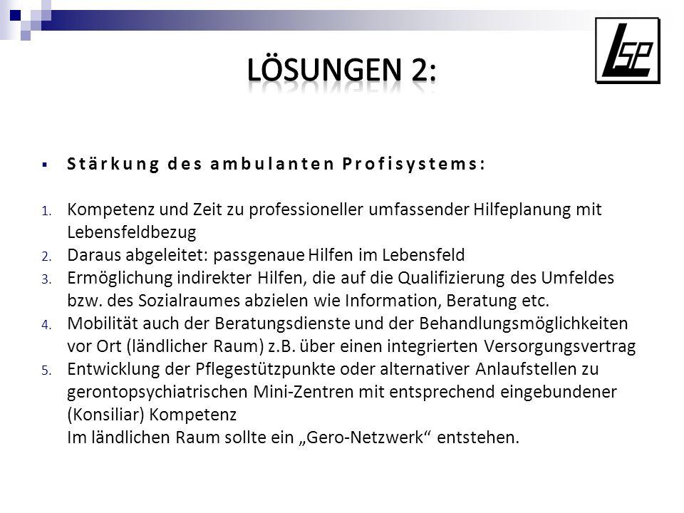 LÖSUNGEN 2: Stärkung des ambulanten Profisystems: