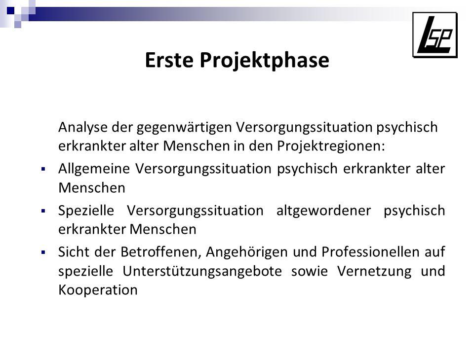 Erste Projektphase Analyse der gegenwärtigen Versorgungssituation psychisch erkrankter alter Menschen in den Projektregionen: