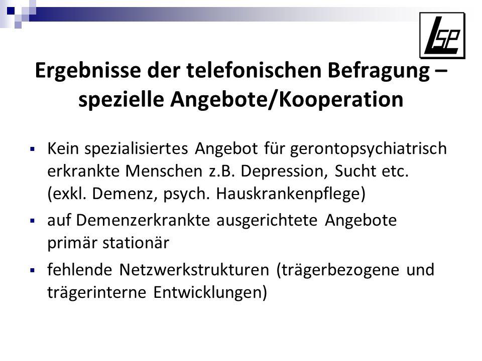 Ergebnisse der telefonischen Befragung – spezielle Angebote/Kooperation