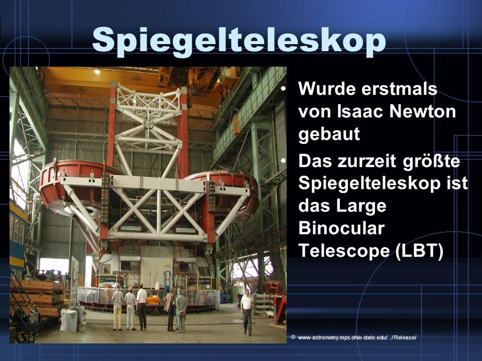 Spiegelteleskop Wurde erstmals von Isaac Newton gebaut