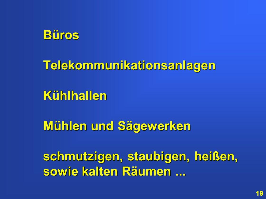Büros Telekommunikationsanlagen Kühlhallen Mühlen und Sägewerken