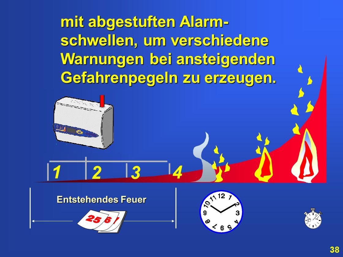 1 2 3 4 mit abgestuften Alarm- schwellen, um verschiedene