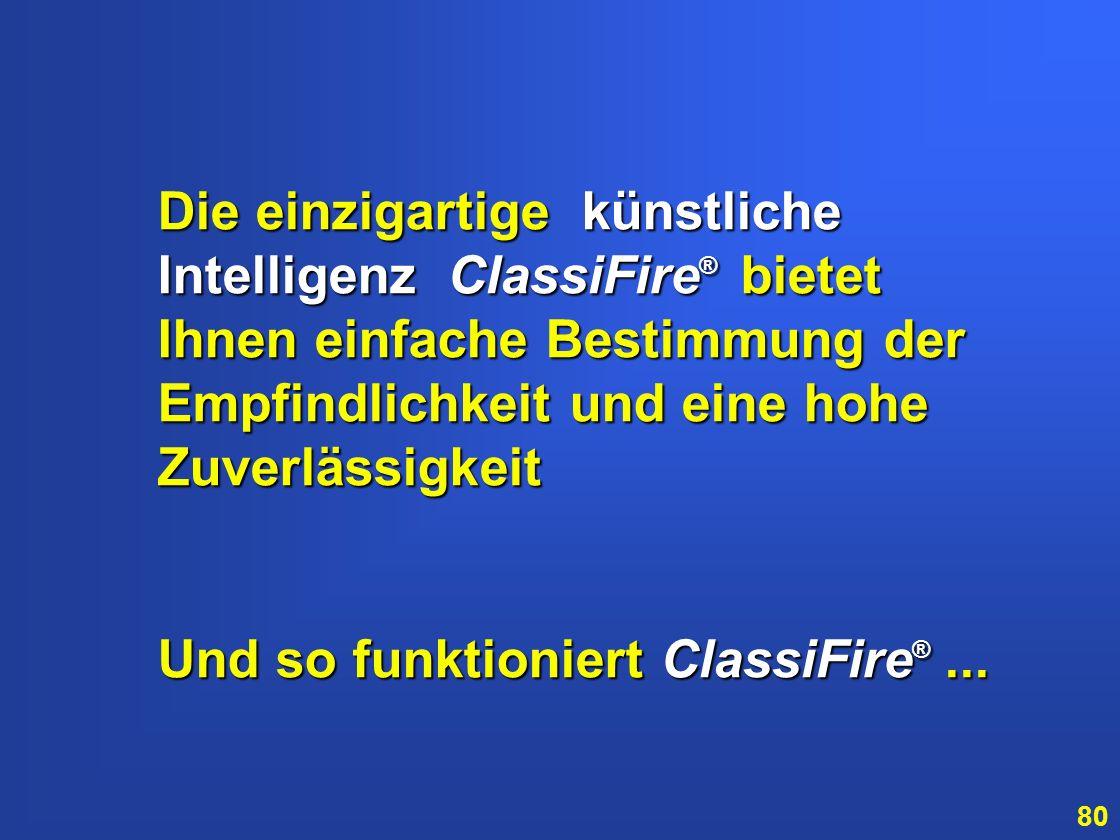 Die einzigartige künstliche Intelligenz ClassiFire® bietet Ihnen einfache Bestimmung der Empfindlichkeit und eine hohe Zuverlässigkeit.