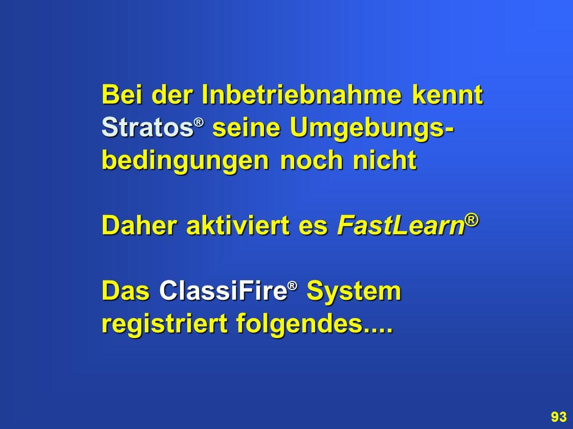 Bei der Inbetriebnahme kennt Stratos® seine Umgebungs-bedingungen noch nicht. Daher aktiviert es FastLearn®