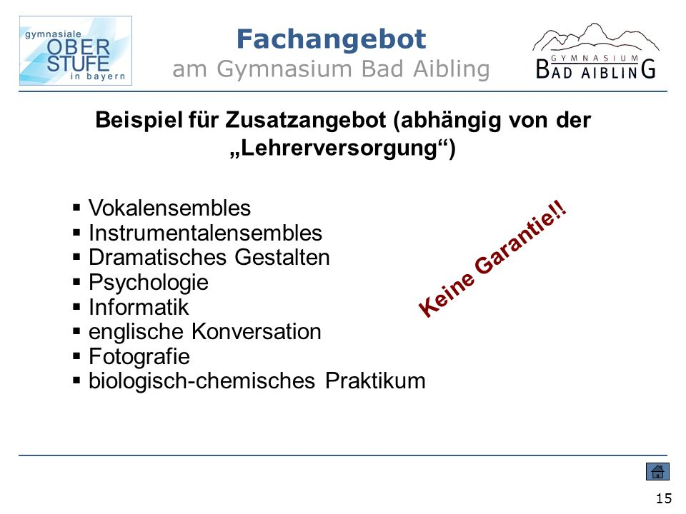 Fachangebot am Gymnasium Bad Aibling