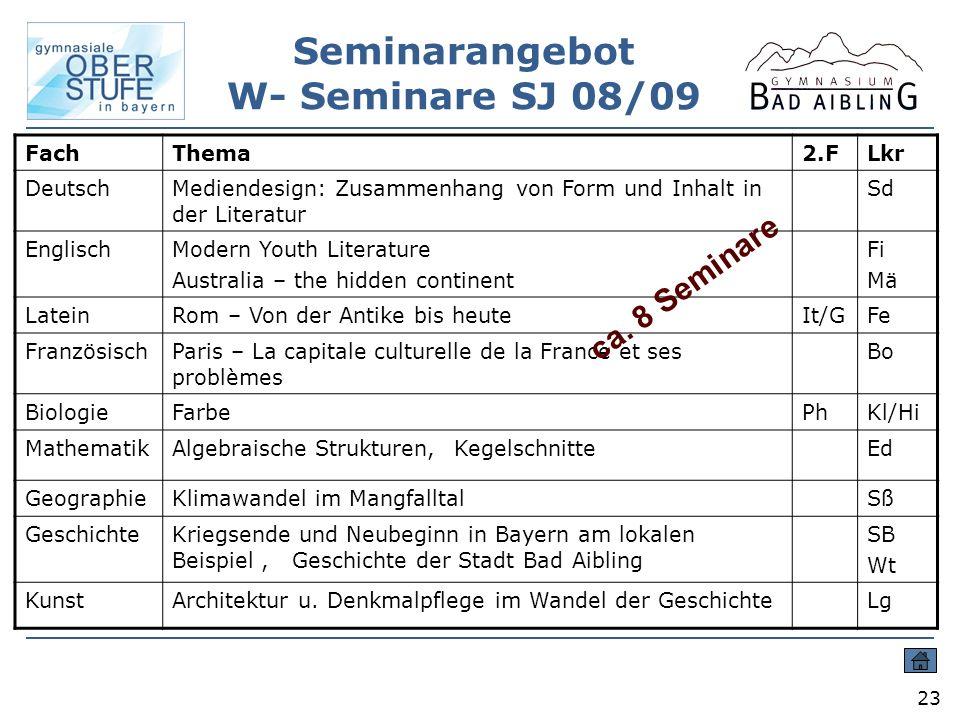 Seminarangebot W- Seminare SJ 08/09