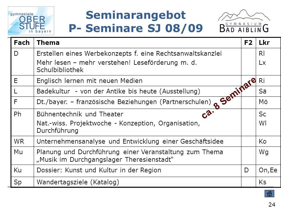 Seminarangebot P- Seminare SJ 08/09