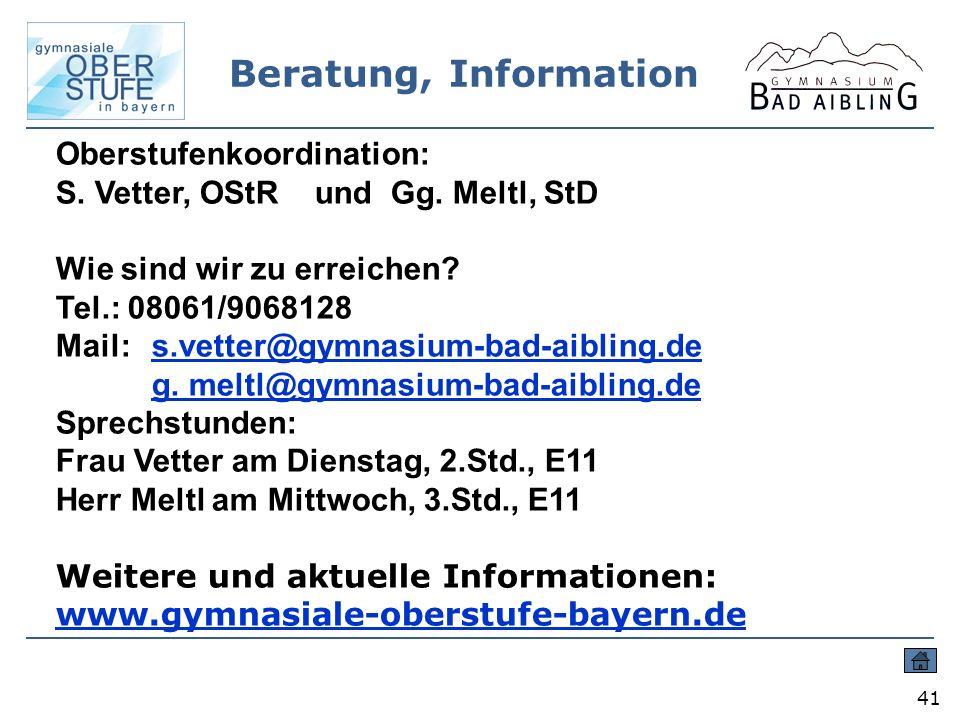 Beratung, Information Oberstufenkoordination:
