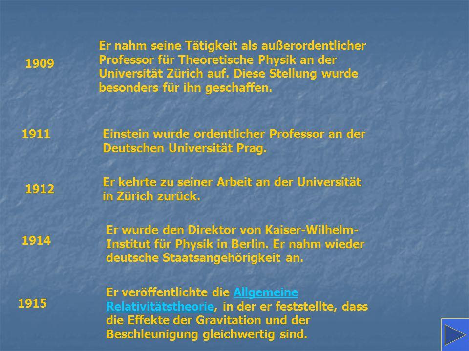 Er nahm seine Tätigkeit als außerordentlicher Professor für Theoretische Physik an der Universität Zürich auf. Diese Stellung wurde besonders für ihn geschaffen.