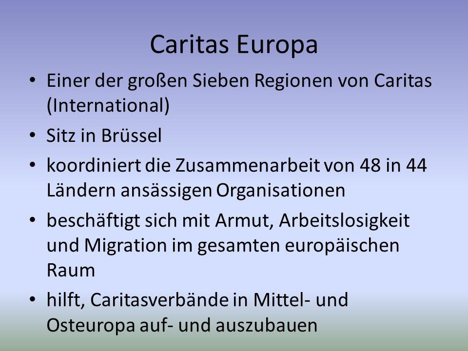 Caritas Europa Einer der großen Sieben Regionen von Caritas (International) Sitz in Brüssel.