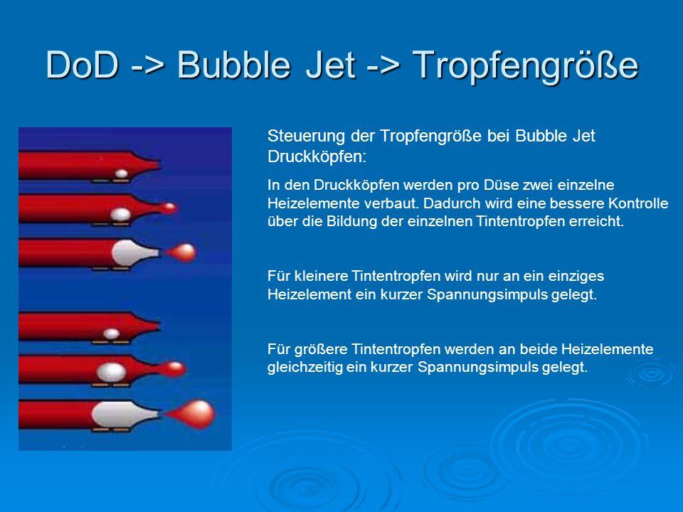 DoD -> Bubble Jet -> Tropfengröße