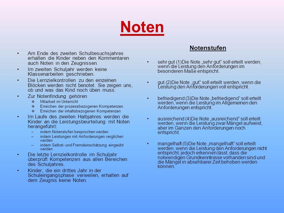 """Noten Notenstufen. sehr gut (1)Die Note """"sehr gut soll erteilt werden, wenn die Leistung den Anforderungen im besonderen Maße entspricht."""