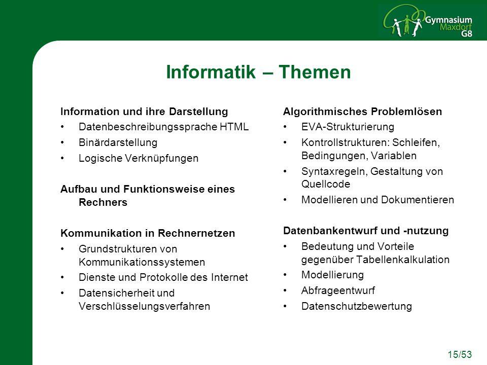 Informatik – Themen Information und ihre Darstellung