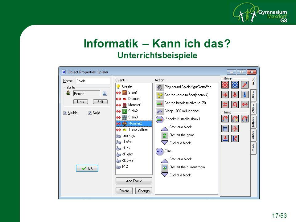 Informatik – Kann ich das Unterrichtsbeispiele