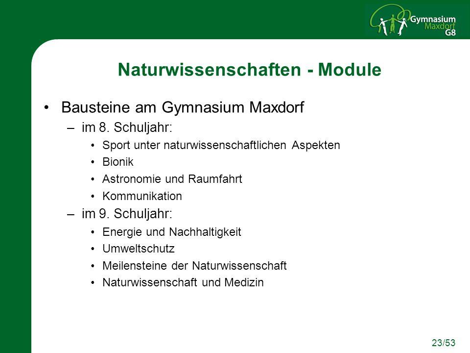 Naturwissenschaften - Module