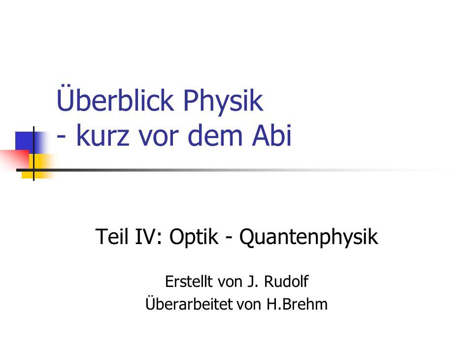 Überblick Physik - kurz vor dem Abi