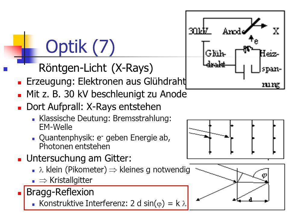 Optik (7) Röntgen-Licht (X-Rays) Erzeugung: Elektronen aus Glühdraht