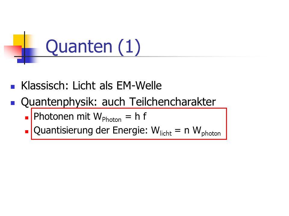 Quanten (1) Klassisch: Licht als EM-Welle