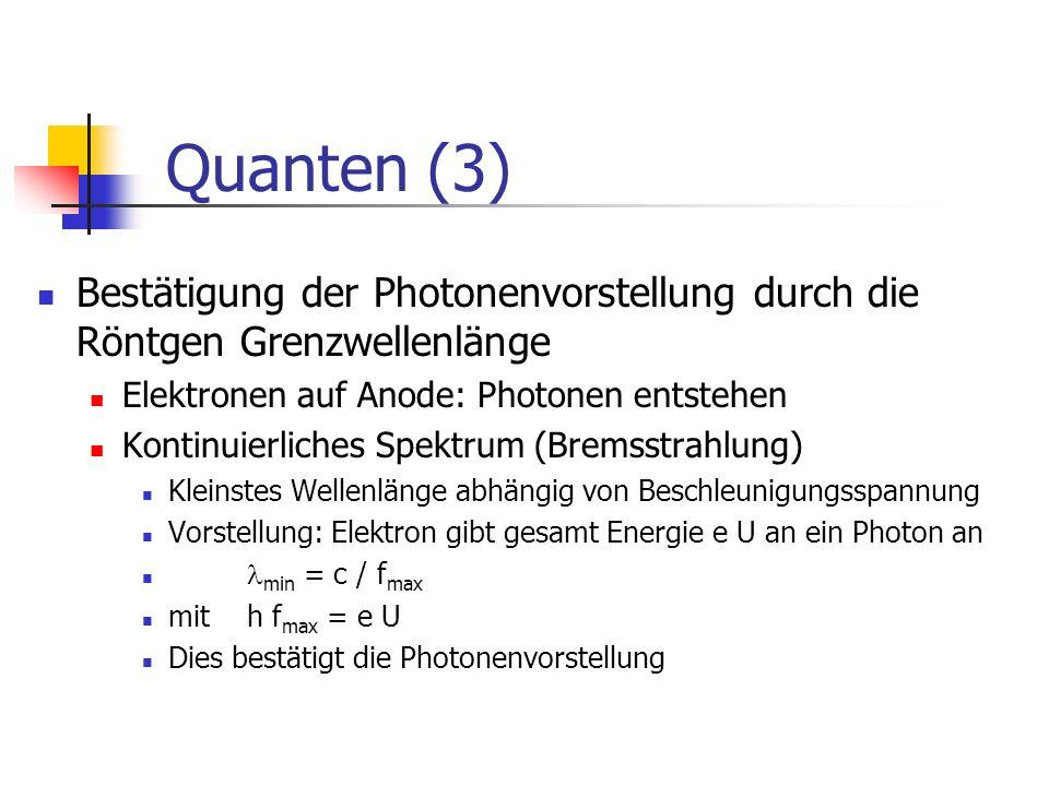 Quanten (3) Bestätigung der Photonenvorstellung durch die Röntgen Grenzwellenlänge. Elektronen auf Anode: Photonen entstehen.