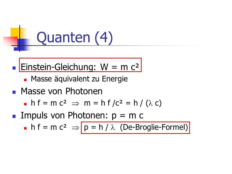 Quanten (4) Einstein-Gleichung: W = m c² Masse von Photonen