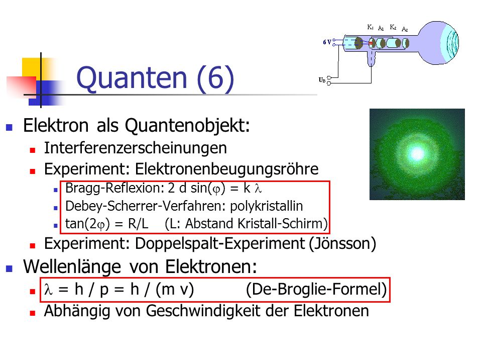 Quanten (6) Elektron als Quantenobjekt: Wellenlänge von Elektronen: