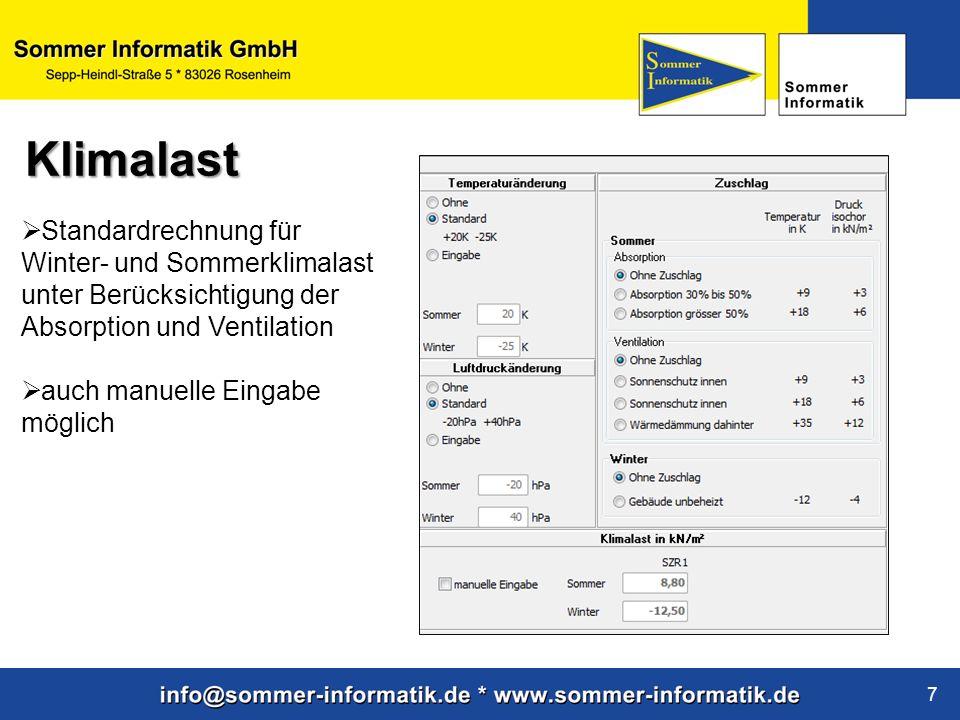 Klimalast Standardrechnung für Winter- und Sommerklimalast unter Berücksichtigung der Absorption und Ventilation.