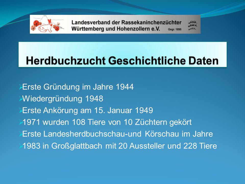 Herdbuchzucht Geschichtliche Daten