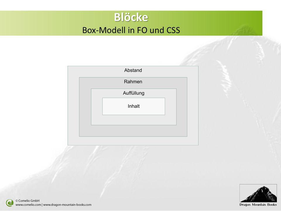 Blöcke Box-Modell in FO und CSS