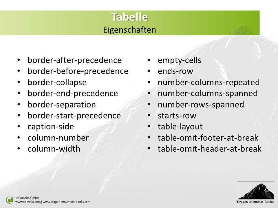 Tabelle Eigenschaften