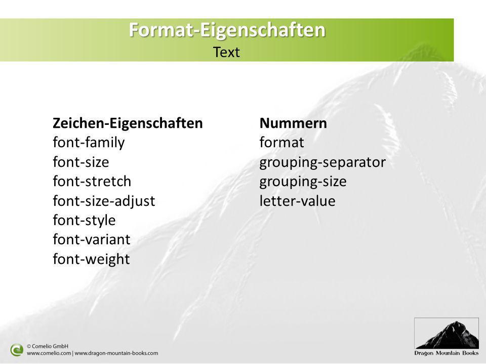 Format-Eigenschaften Text