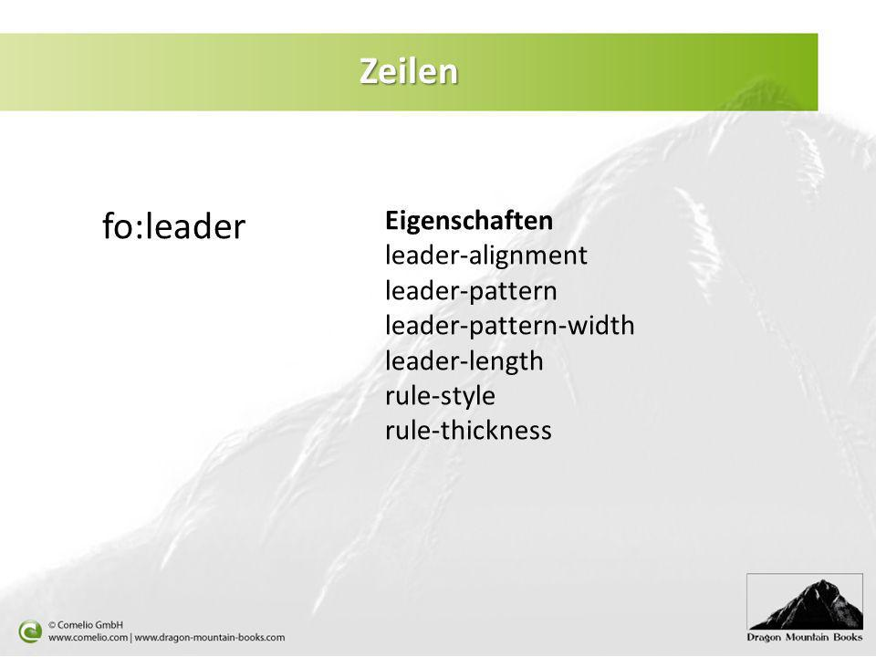 Zeilen fo:leader Eigenschaften leader-alignment leader-pattern