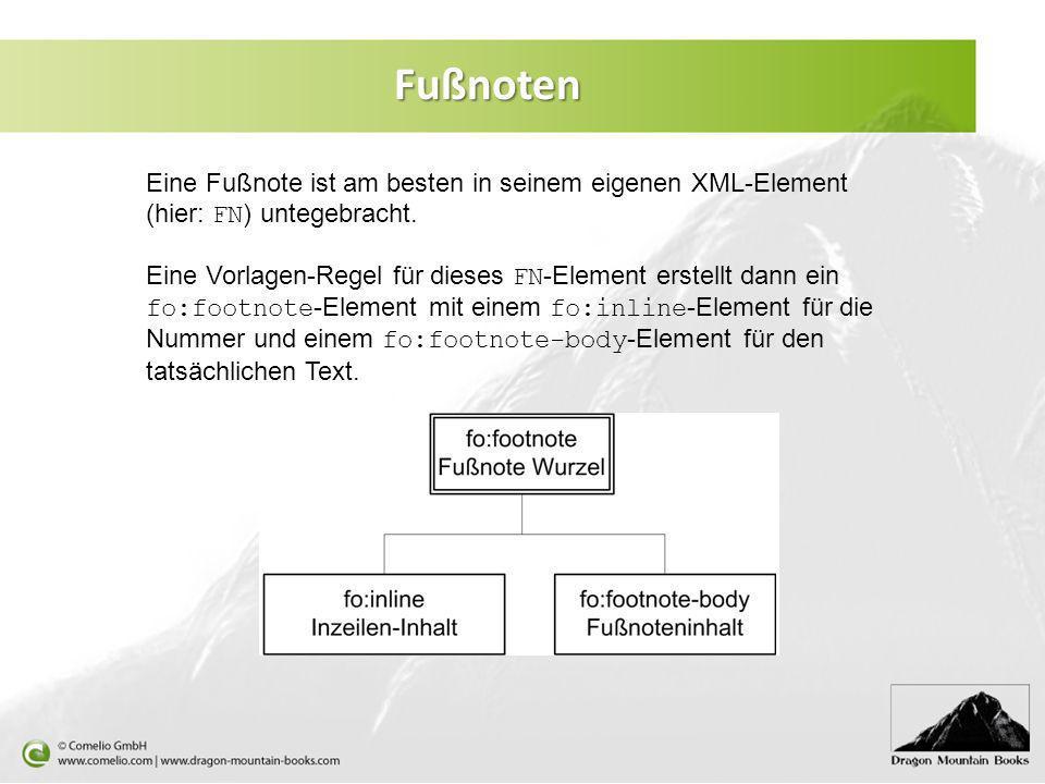 Fußnoten Eine Fußnote ist am besten in seinem eigenen XML-Element (hier: FN) untegebracht.