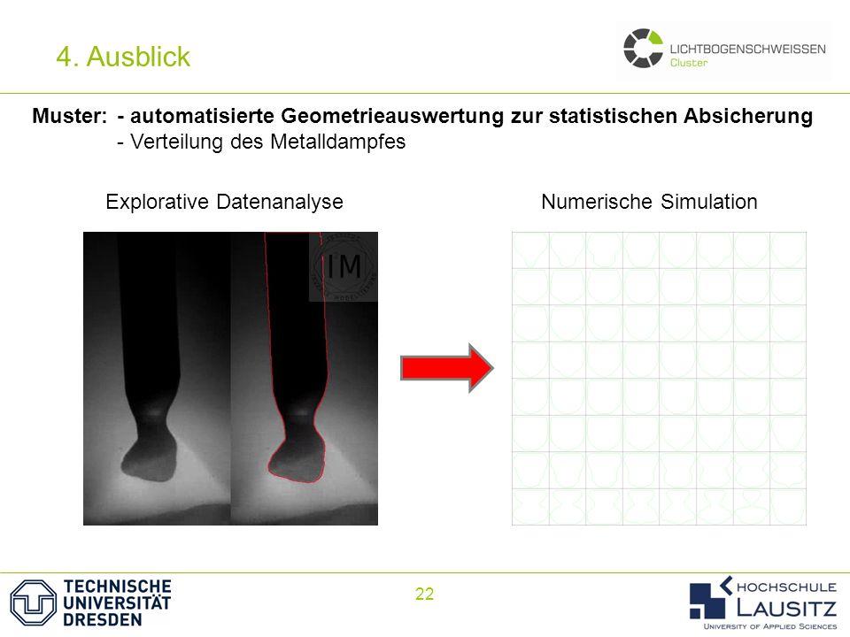 4. Ausblick Muster: - automatisierte Geometrieauswertung zur statistischen Absicherung. - Verteilung des Metalldampfes.