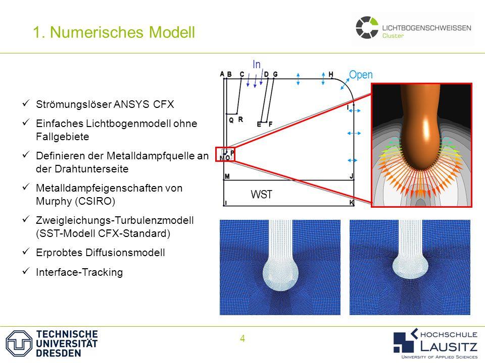 1. Numerisches Modell Elektrode Strömungslöser ANSYS CFX
