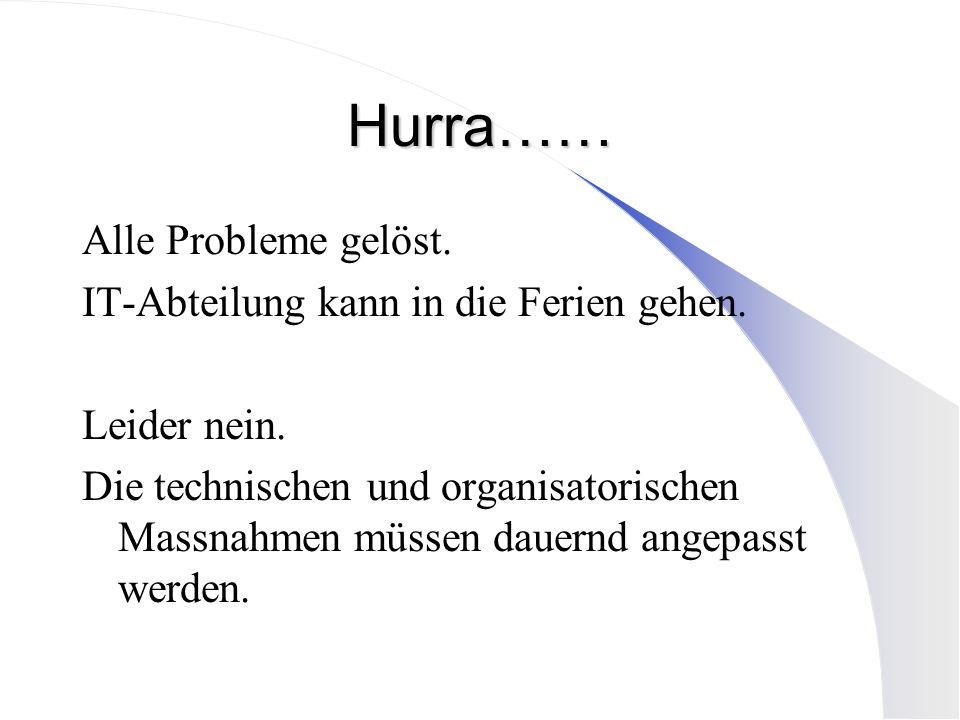 Hurra…… Alle Probleme gelöst. IT-Abteilung kann in die Ferien gehen.