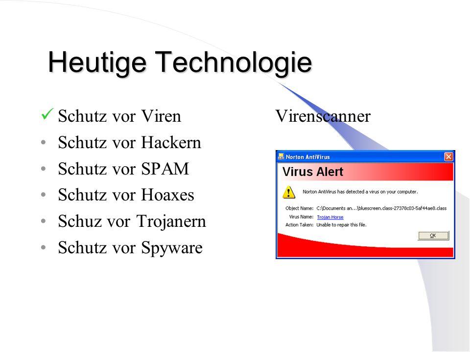 Heutige Technologie Schutz vor Viren Virenscanner Schutz vor Hackern