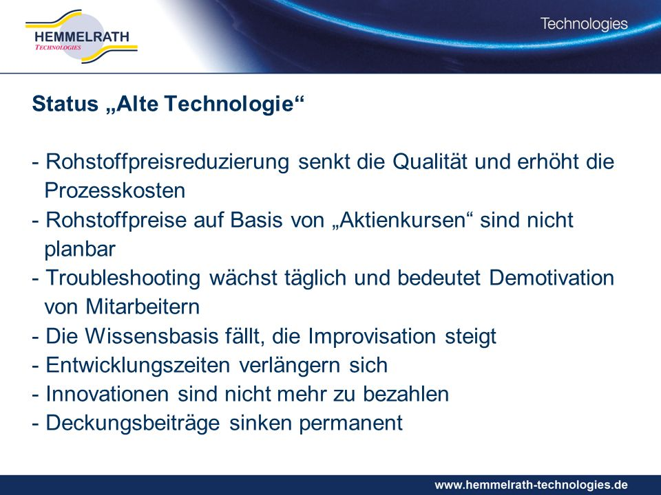 "Status ""Alte Technologie"