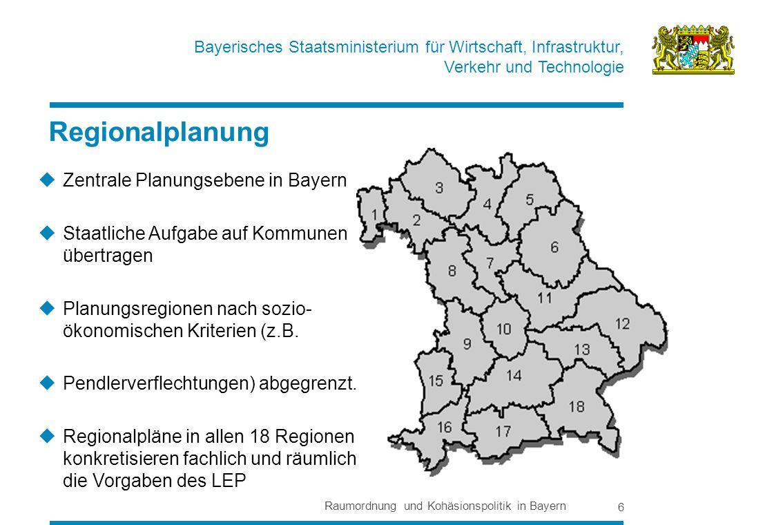 Regionalplanung Zentrale Planungsebene in Bayern