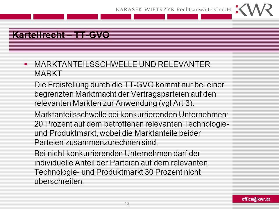 Kartellrecht – TT-GVO MARKTANTEILSSCHWELLE UND RELEVANTER MARKT