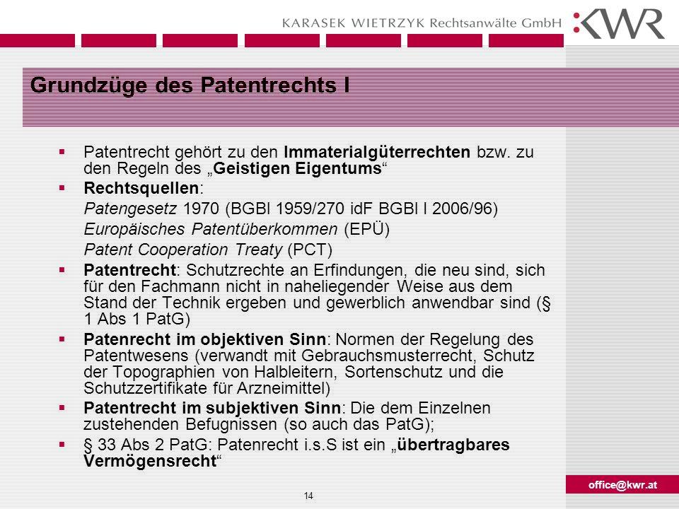 Grundzüge des Patentrechts I