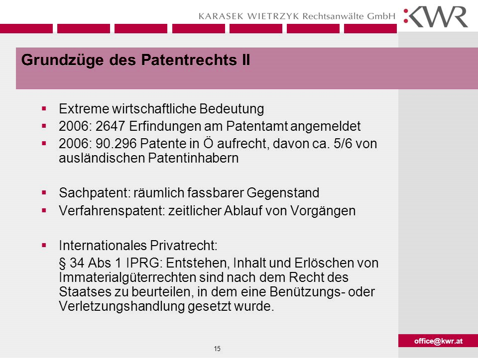 Grundzüge des Patentrechts II