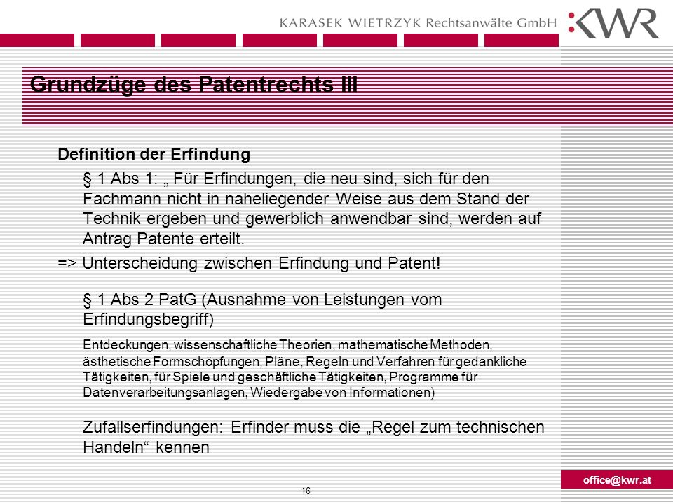 Grundzüge des Patentrechts III