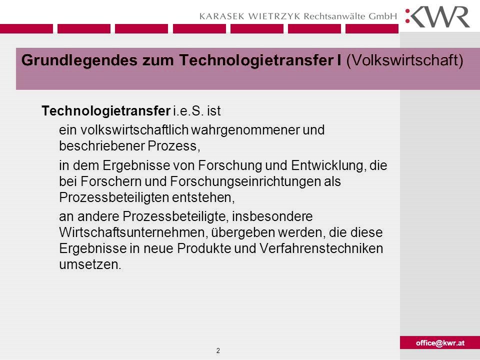 Grundlegendes zum Technologietransfer I (Volkswirtschaft)