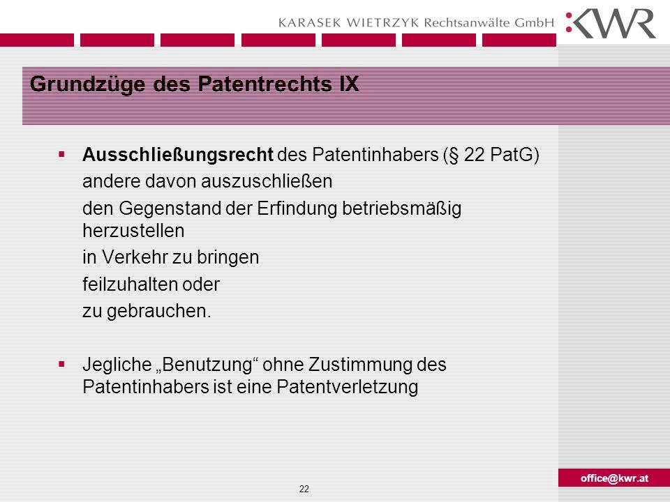 Grundzüge des Patentrechts IX