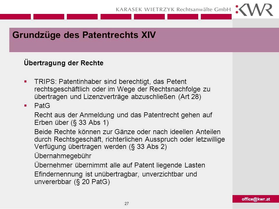Grundzüge des Patentrechts XIV