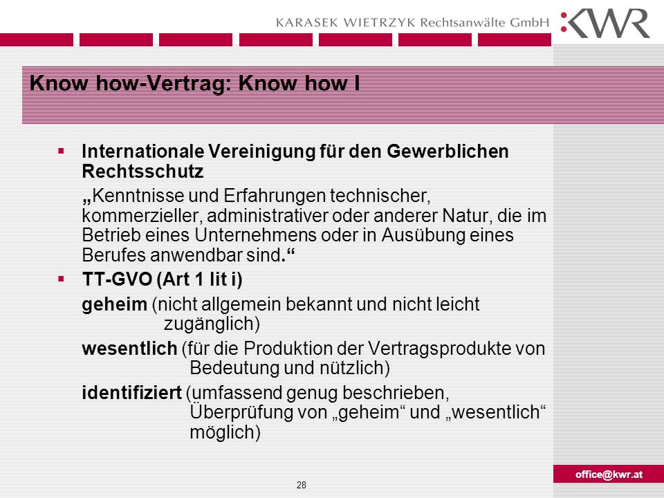 Know how-Vertrag: Know how I
